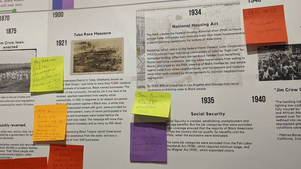 A poster timeline depicting the racial wealth gap, with colorful post-its attached.