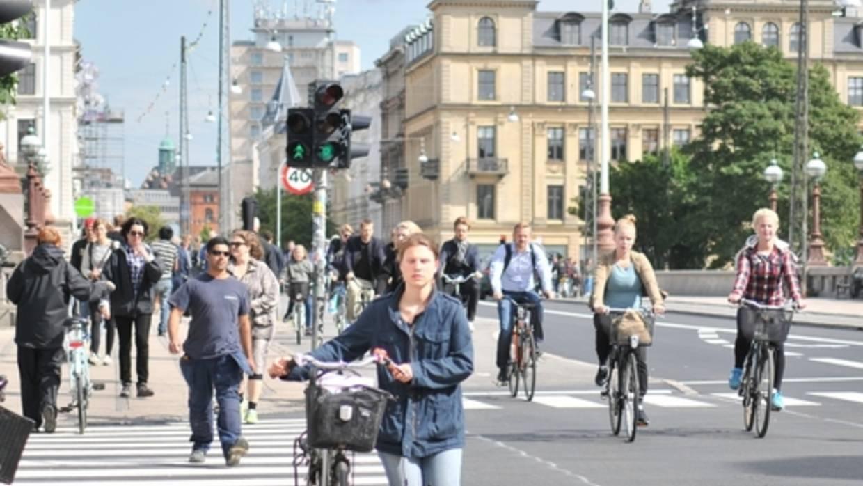 Pedestrians navigate a European City