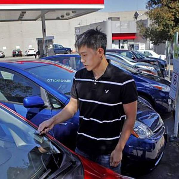 A resident of California accesses his car-share vehicle