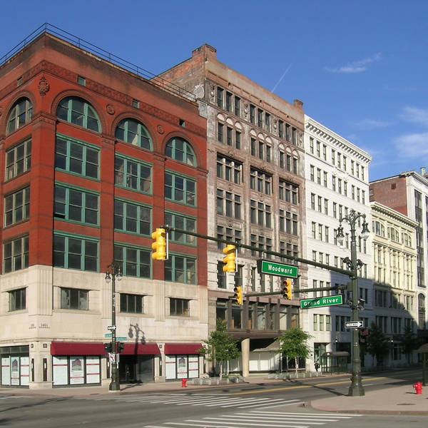 1401–1449 Woodward Avenue in Detroit, Michigan showing contributing properties to the Lower Woodward Avenue Historic District. By Andrew Jameson (Own work) via Wikimedia Commons.