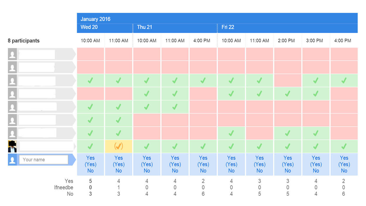 A screenshot of the Doodle scheduling tool