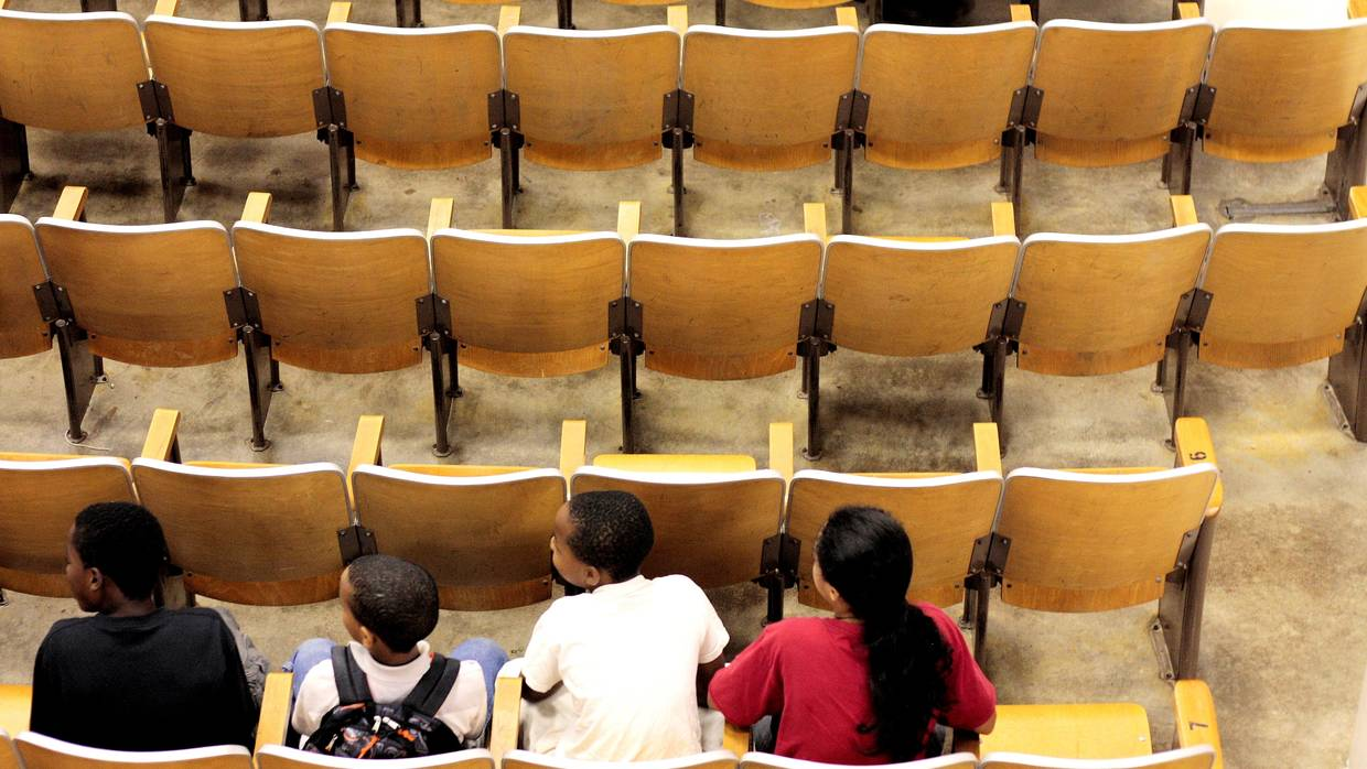 Students in Auditorium, By Flickr user Phil Rhoeder