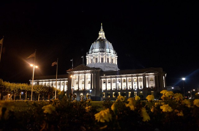 San Fransisco City Hall at night; image by Luke Pickard