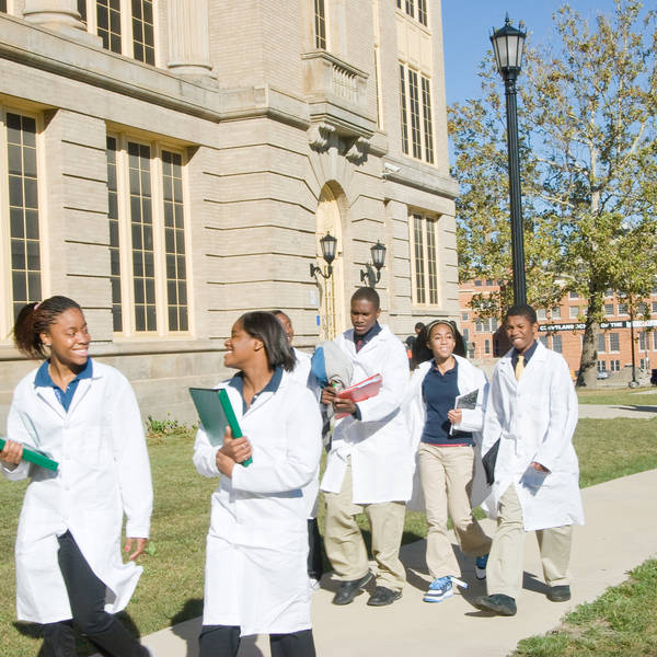 Medical students walk along their quad in Cleveland, OH