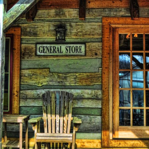 The Front of a small town general store