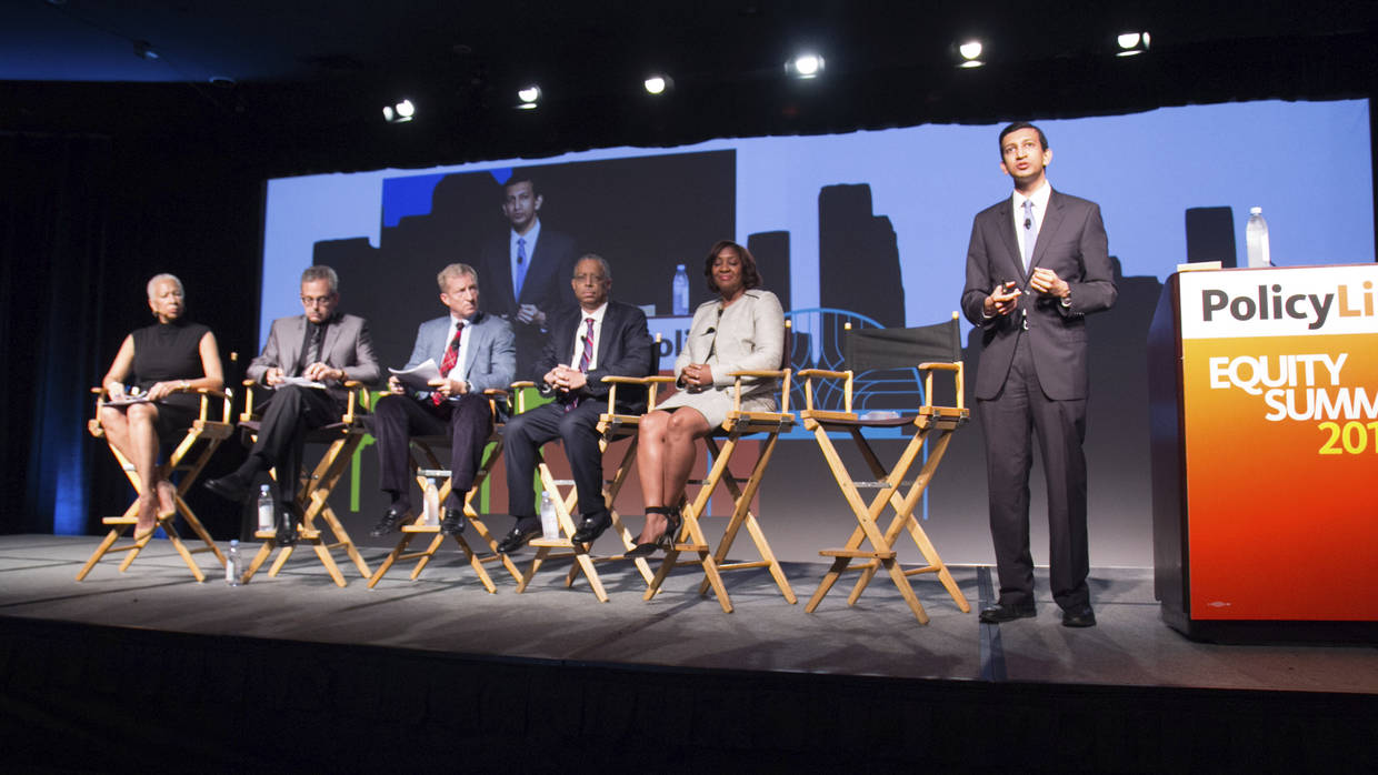 Angela Glover Blackwell on stage during the plenary panel of the 2015 Equity Summit