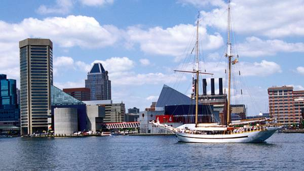 Buildings line the Baltimore Harbor