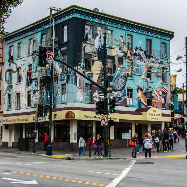 Recent photo of a colorful mural on a business in San Francisco's Mission District
